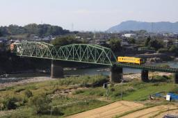 Yellow trains and railroad scenery